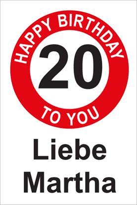 Bild von Geburtstagsschilder 20 Happy Birthday