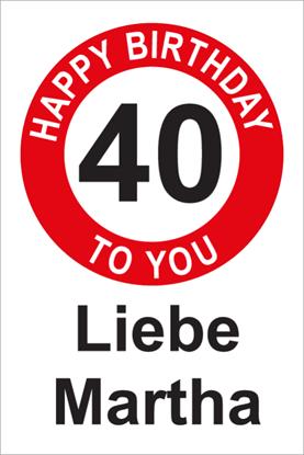 Bild von Geburtstagsschilder 40 Happy Birthday