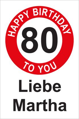 Bild von Geburtstagsschilder 80 Happy Birthday