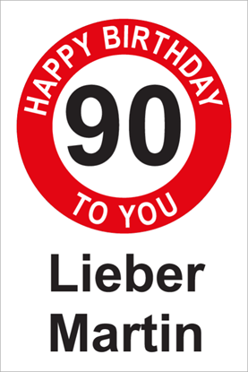 Bild von Geburtstagsschilder 90 Happy Birthday