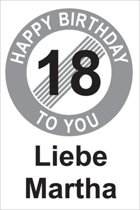 Bild von Geburtstagsschilder 18 Happy Birthday