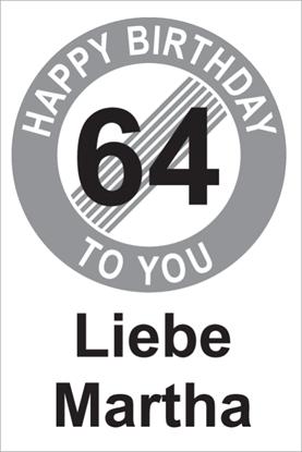 Bild von Geburtstagsschilder 64 Happy birthday