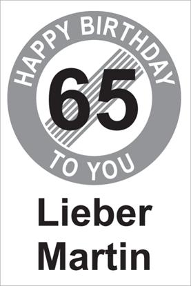 Bild von Geburtstagsschilder 65 Happy birthday