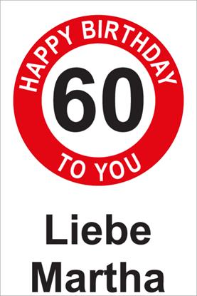 Bild von Geburtstagsschilder 60 Happy Birthday