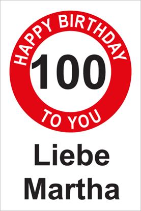 Bild von Geburtstagsschilder 100 Happy Birthday